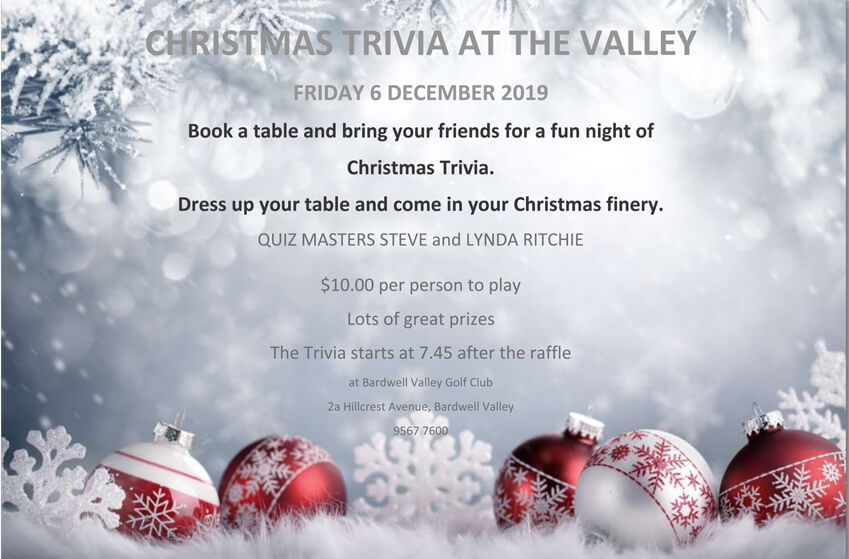 Christmas Trivia, prizes night, Bardwell Valley Golf Club