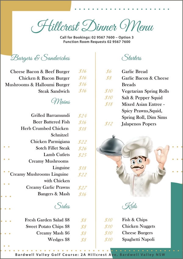 hillcrest dinner menu