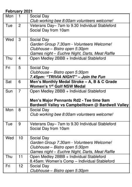 Bardwell Valley Golf Fixtures 2021 F-16