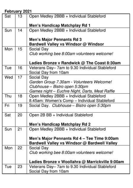 Bardwell Valley Golf Fixtures 2021 F-17