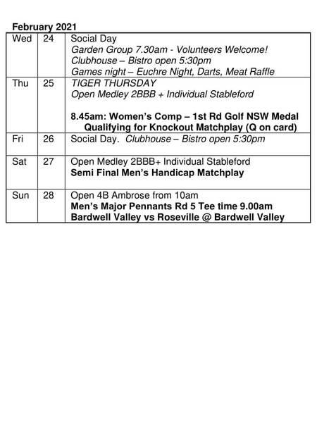 Bardwell Valley Golf Fixtures 2021 F-18