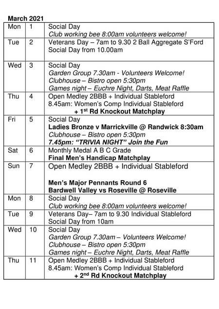 Bardwell Valley Golf Fixtures 2021 F-19