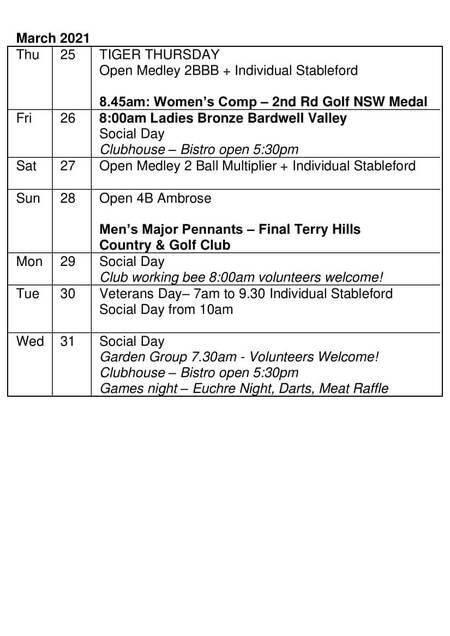 Bardwell Valley Golf Fixtures 2021 F-21