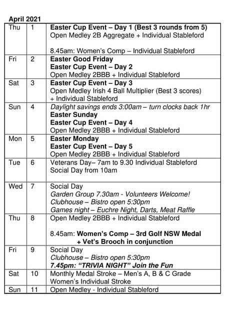 Bardwell Valley Golf Fixtures 2021 F-22