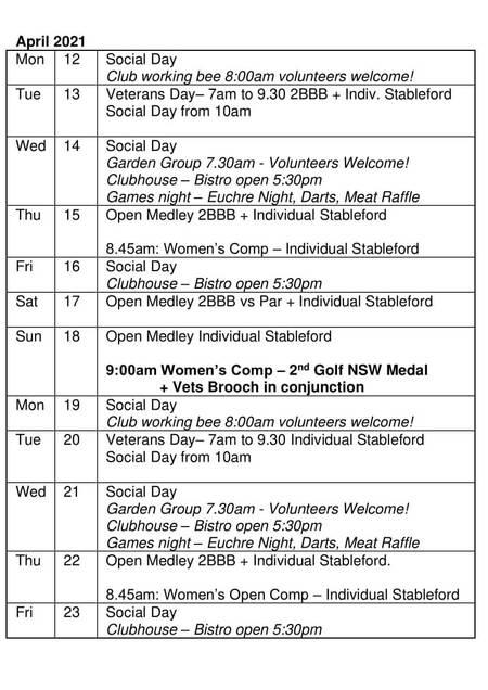 Bardwell Valley Golf Fixtures 2021 F-23