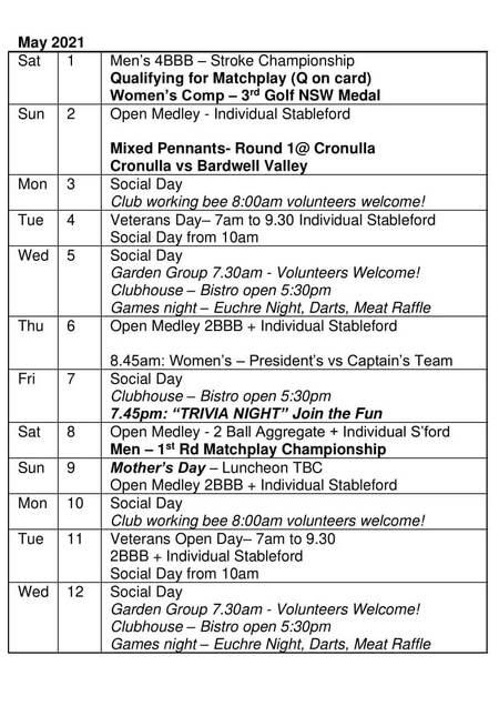 Bardwell Valley Golf Fixtures 2021 F-25