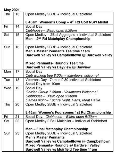 Bardwell Valley Golf Fixtures 2021 F-26