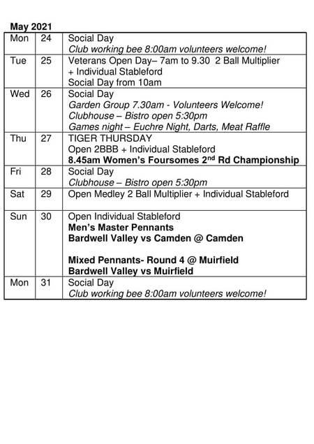 Bardwell Valley Golf Fixtures 2021 F-27