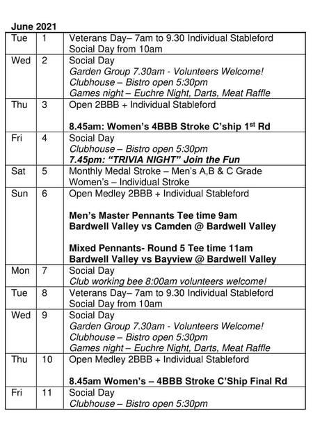 Bardwell Valley Golf Fixtures 2021 F-28