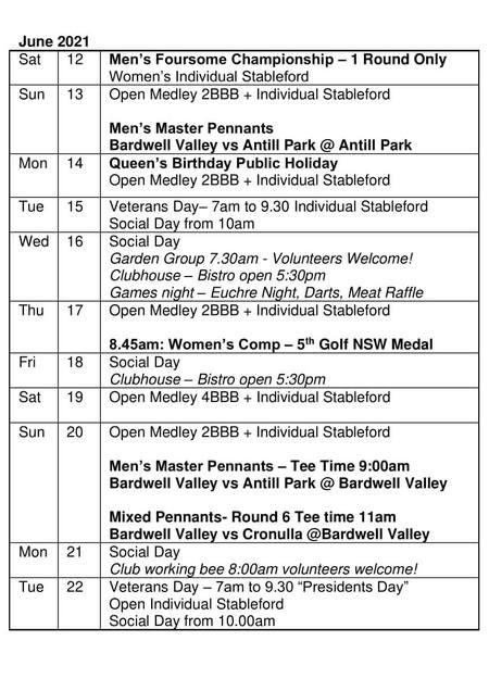 Bardwell Valley Golf Fixtures 2021 F-29