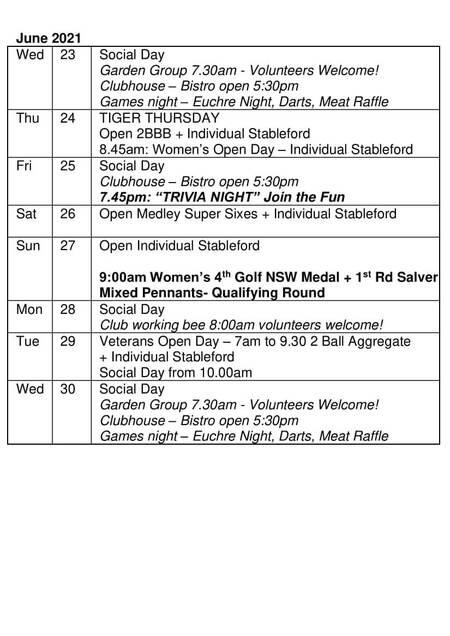 Bardwell Valley Golf Fixtures 2021 F-30