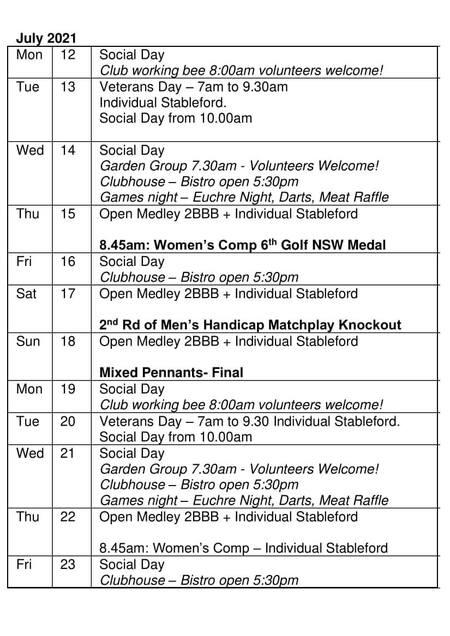 Bardwell Valley Golf Fixtures 2021 F-32