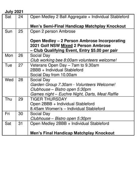 Bardwell Valley Golf Fixtures 2021 F-33
