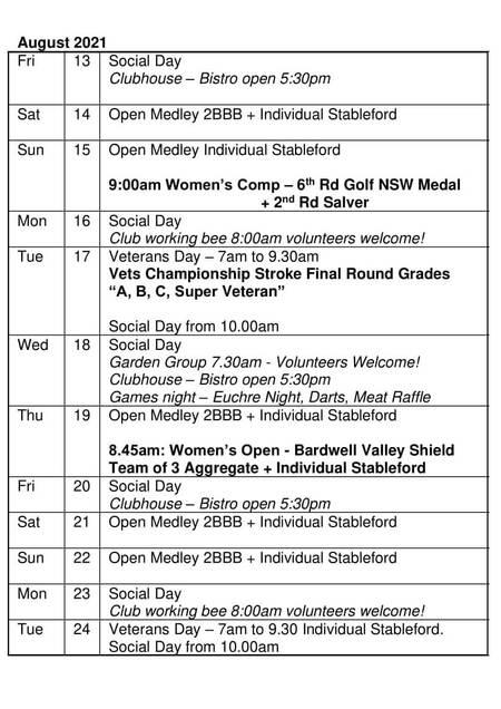 Bardwell Valley Golf Fixtures 2021 F-35