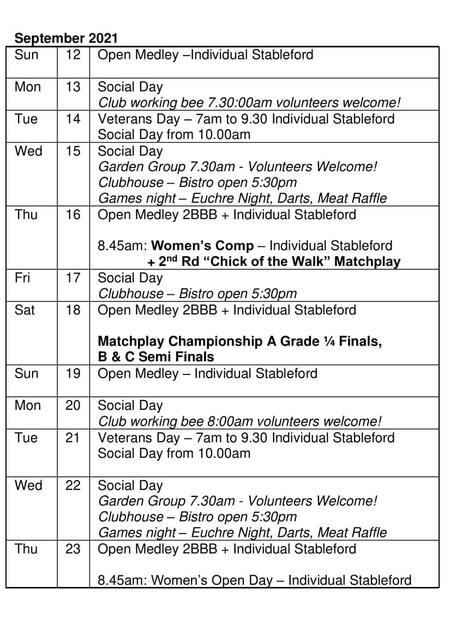 Bardwell Valley Golf Fixtures 2021 F-38