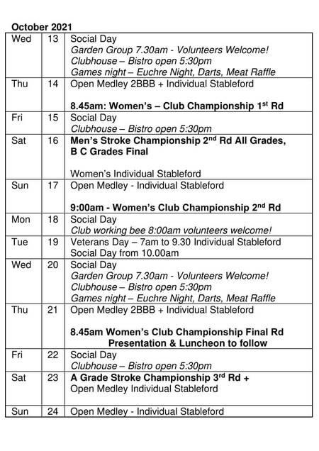 Bardwell Valley Golf Fixtures 2021 F-41