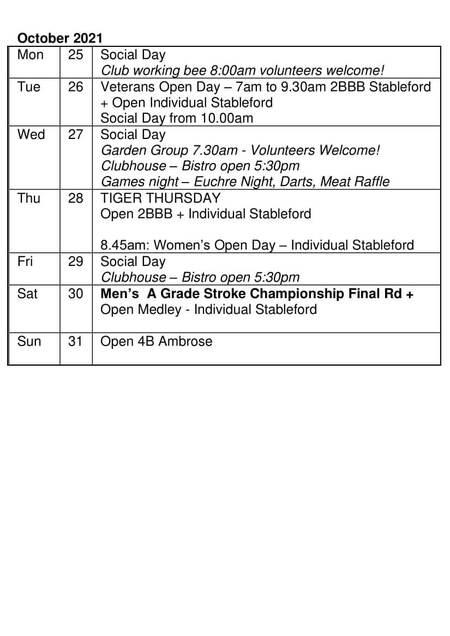 Bardwell Valley Golf Fixtures 2021 F-42