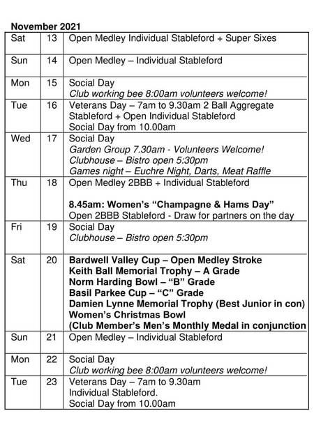 Bardwell Valley Golf Fixtures 2021 F-44