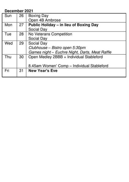 Bardwell Valley Golf Fixtures 2021 F-48