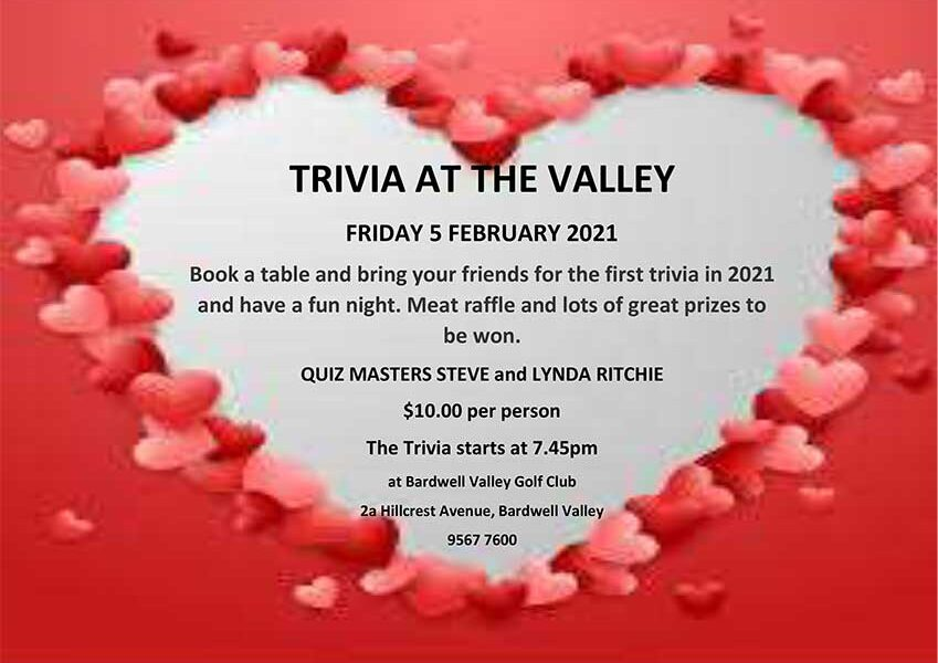 Book a table and bring your friends for the first trivia in 2021 and have a fun night. Meat raffle and lots of great prizes to be won.