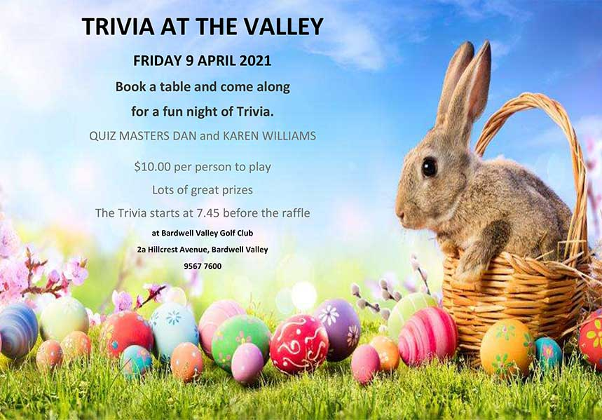 TRIVIA AT THE VALLEY - FRIDAY 9 APRIL 2021