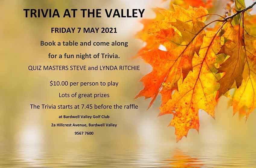 TRIVIA AT THE VALLEY FRIDAY 7 MAY 2021